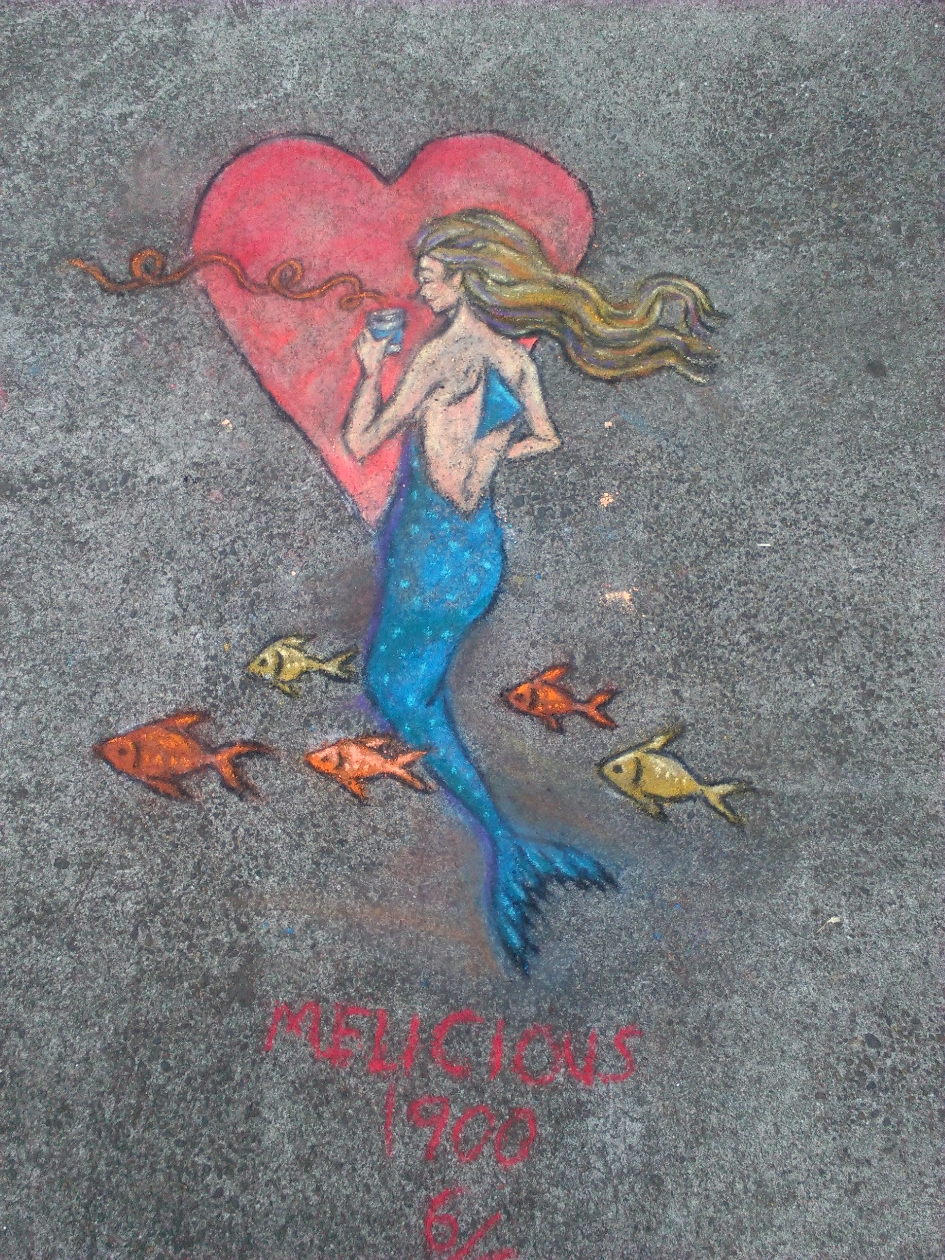 The 6th and final drawing where the mermaid get to drink coffee for the first time and loves it. Near NW 2nd & Davis.