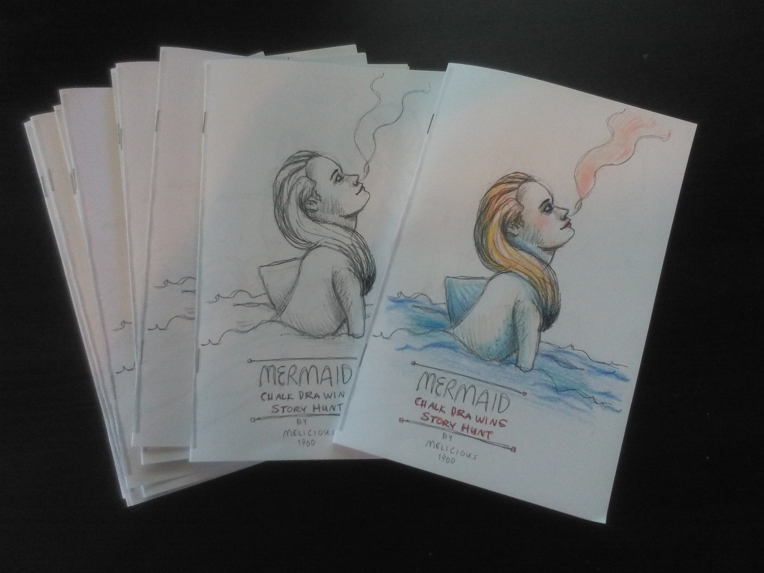 The sketchbooks that show the preparatory drawings for the Chalk Drawing Story Hunt. There are a few left and you can get one sent to you by emailing me with your name and mailing address (melicious1900(at)gmail(dot)com).