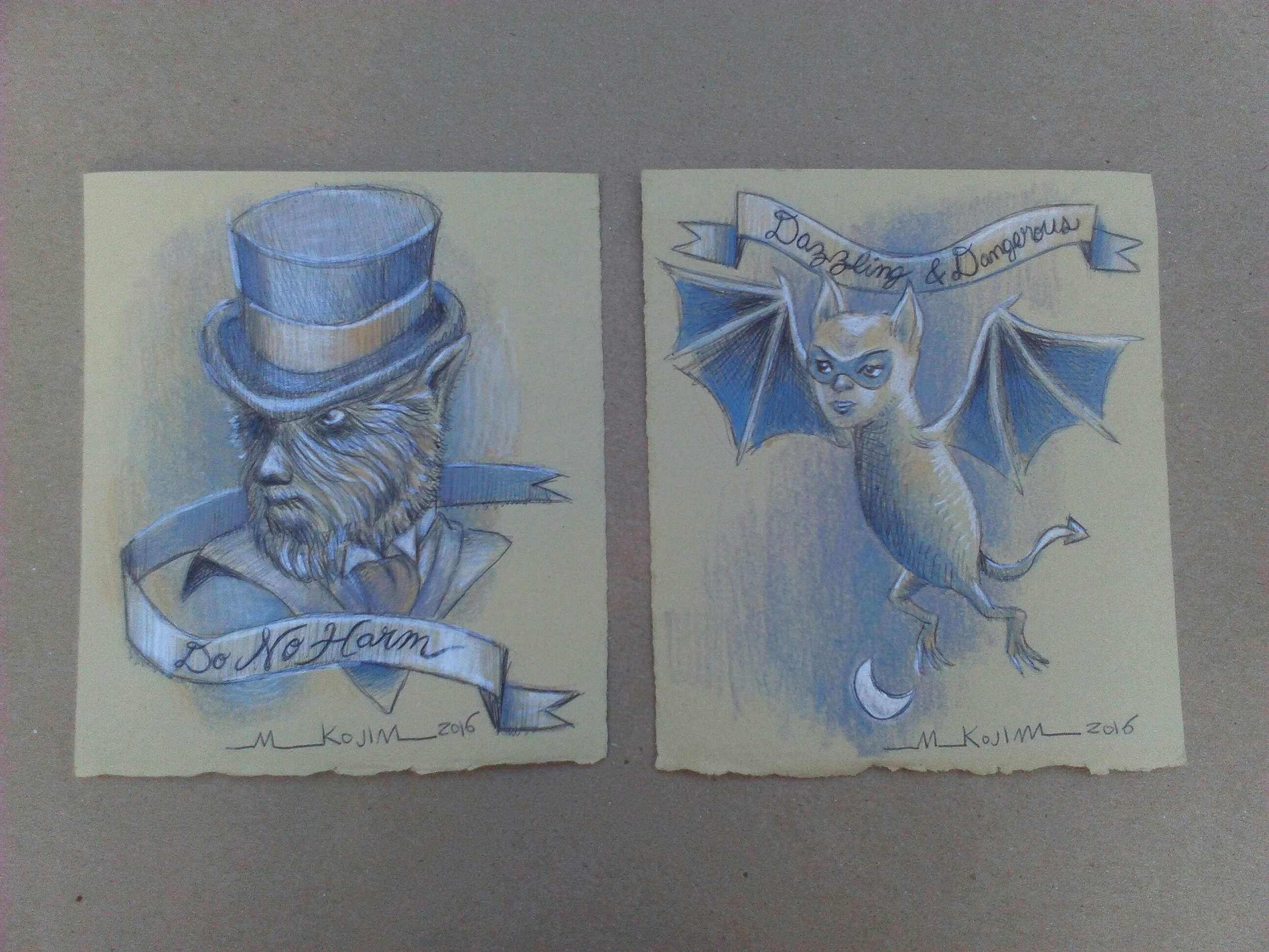 "The 2 little drawing I created at the 2016 Monster Drawing Rally.  ""Do No Harm Wolfman"" and ""Dazzling & Dangerous Bat""."