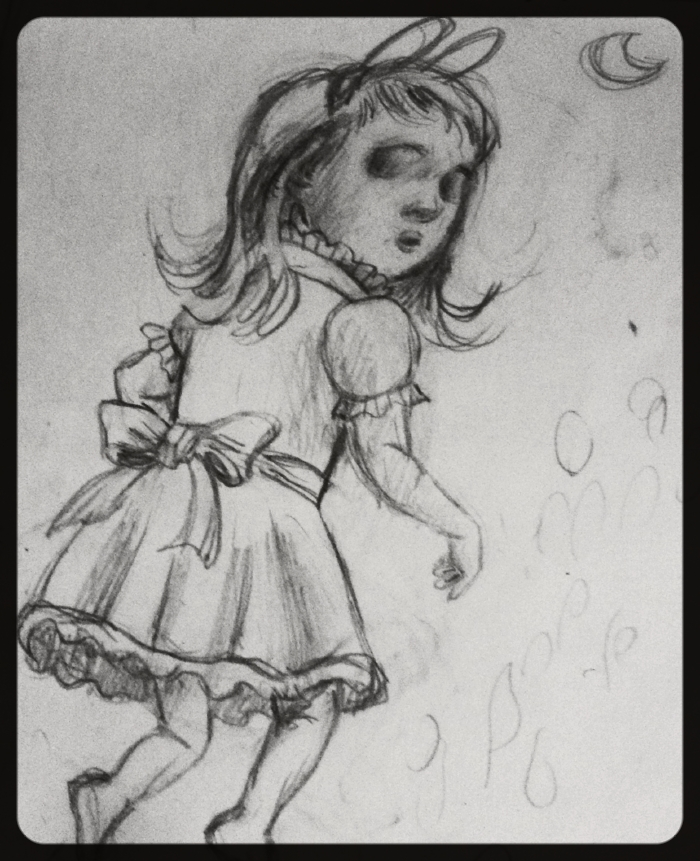 The sketch of the ghost bunny girl.
