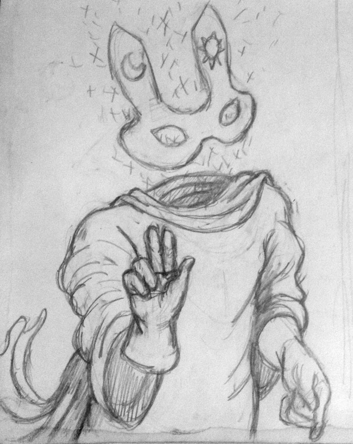 The sketch of the Invisible Ghost Bunny.