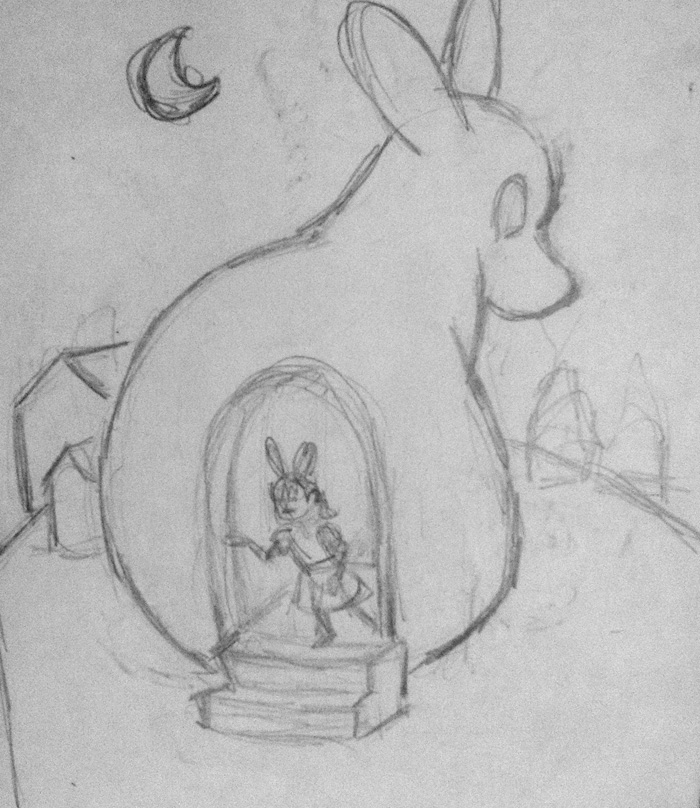 The sketch of the Ghost Bunny Home.