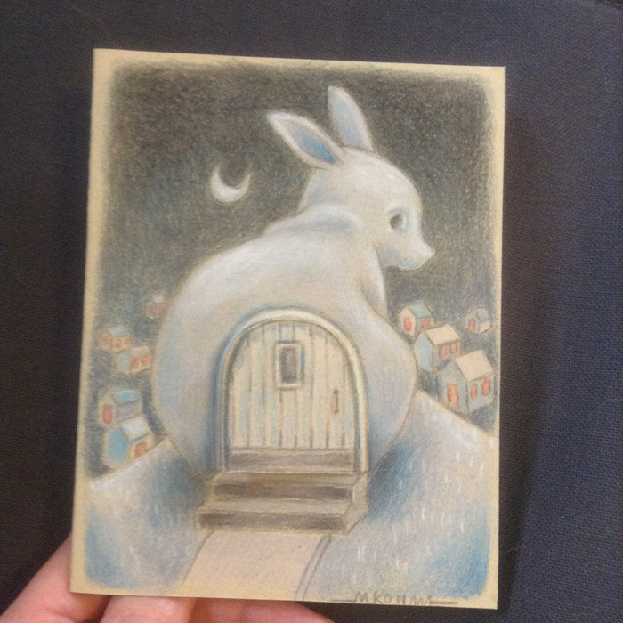 The finished color pencil drawing of the Ghost Bunny Home.