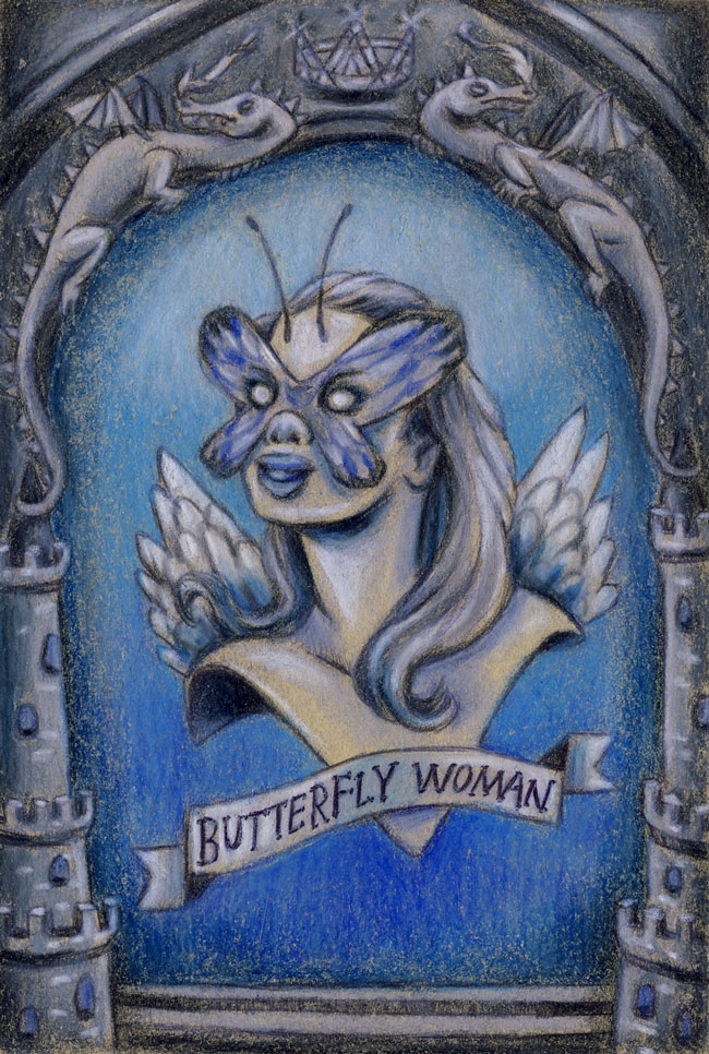 Small drawing of the butterfly woman  custom magical creature portrait .