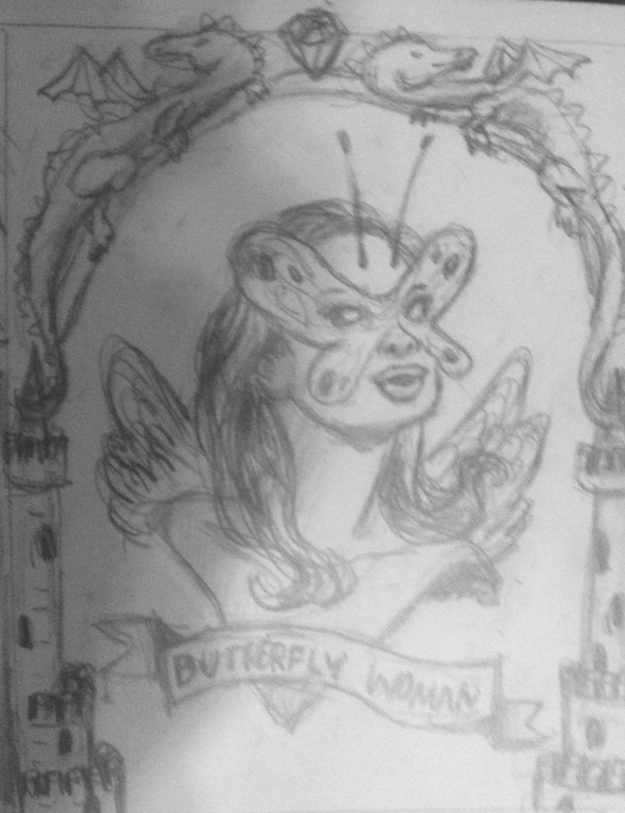 Sketch of the butterfly woman  custom magical creature portrait .