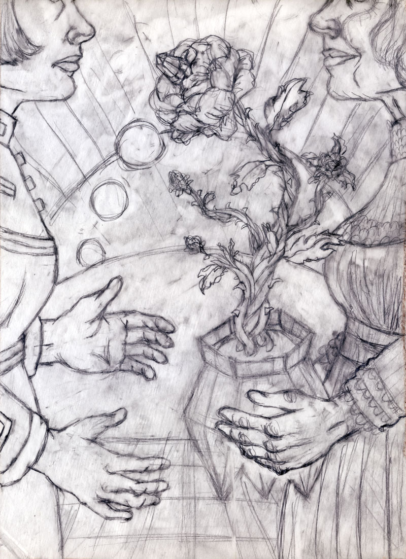 The final drawing for the painting.