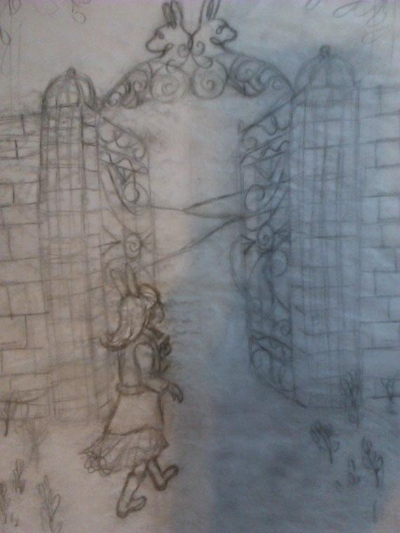 "Work in progress of ""Bunny Trespassing"" drawing."