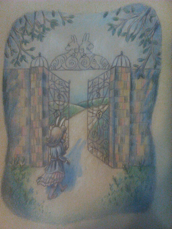 """Work in progress of """"Bunny Trespassing"""" drawing, now with some color."""