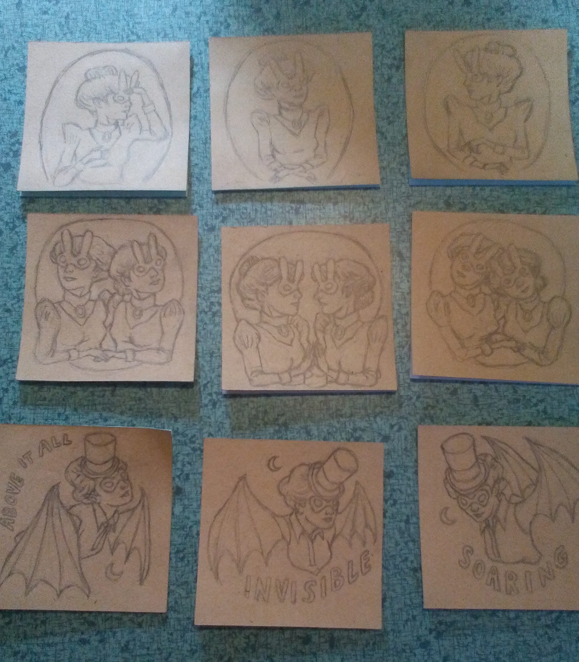 Nine little post-it drawings that I will color and send to the Giant Robot's annual Post-it Art Show in December.
