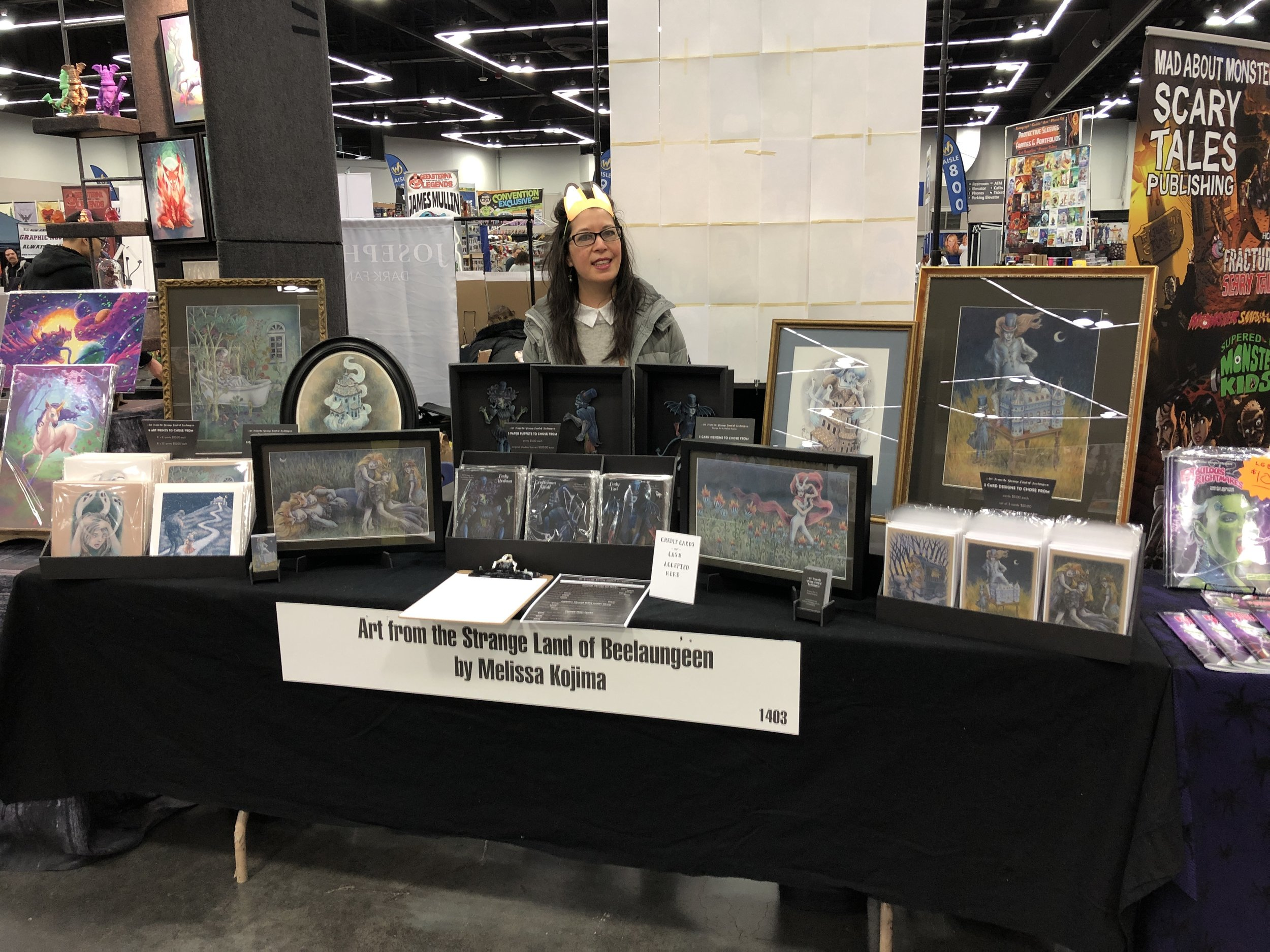 I changed the set up of my artist table every day of the 3 day convention.