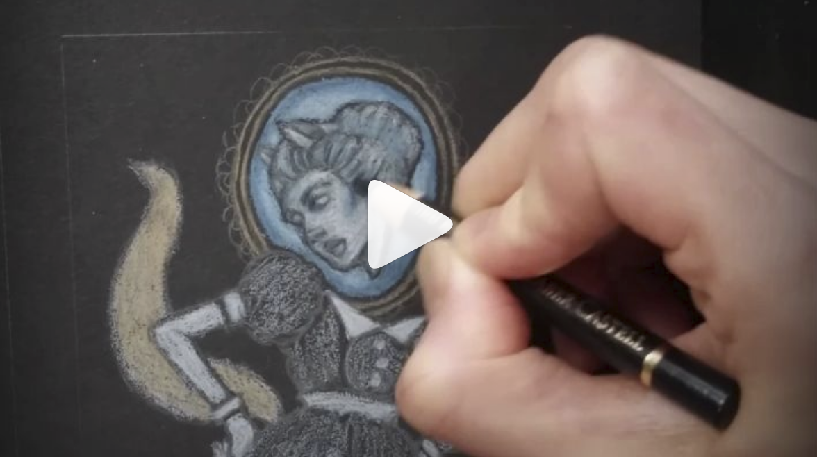 Click image to see the timelapse video of the Ghost Fox Brooch Drawing.