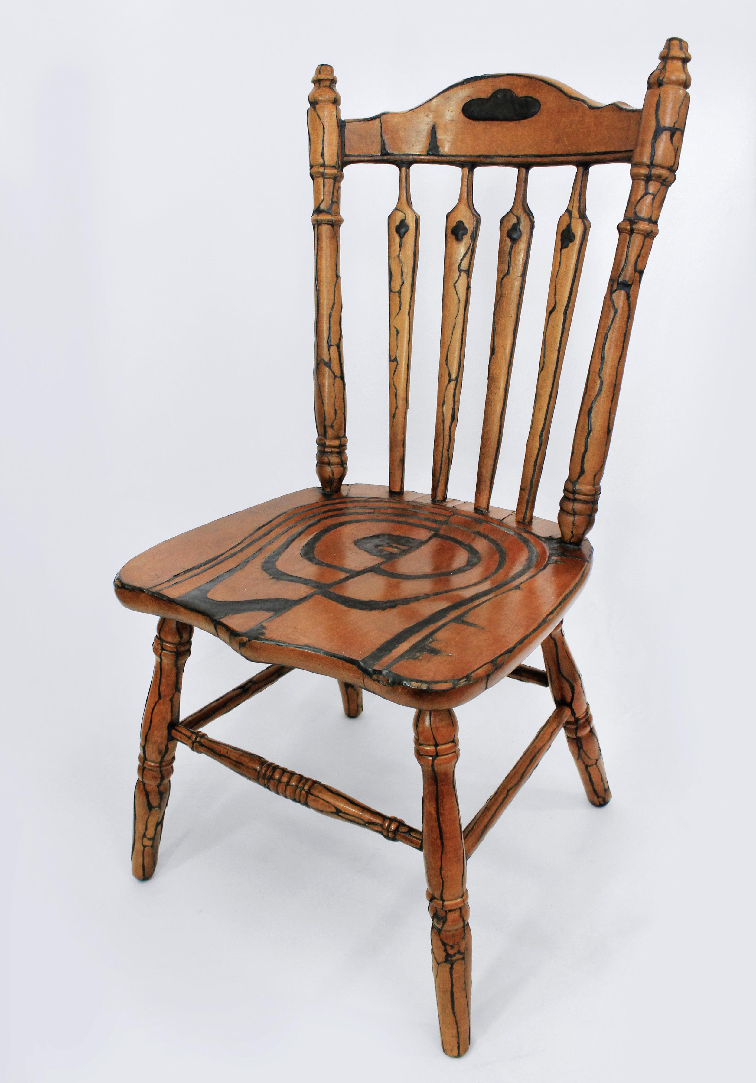 Skinned Chair (Skin)  Found furniture, epoxy clay, steel (armature) 18.5 x 18.5 x 38 in. 2019