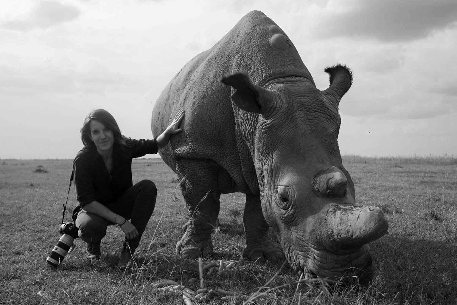 nicki with rhino bw.jpg