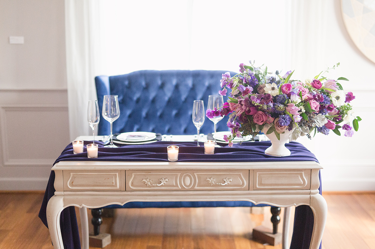Ultraviolet Wedding Centerpiece Sweetheart Table Ideas DC Event Planner A Griffin Events 27.jpg