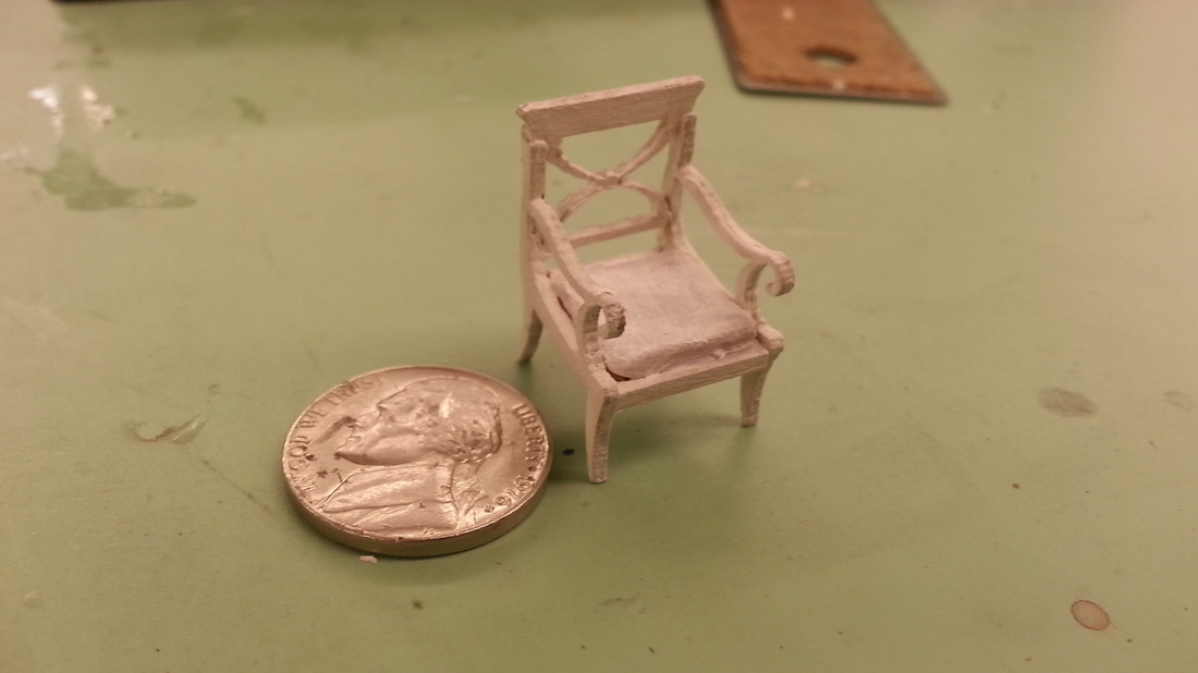 "Chair By: Jamie DeHay Designed in AutoCAD and Laser Cut Cushion = Sculpy Scale: 3/8"" = 1'0"""