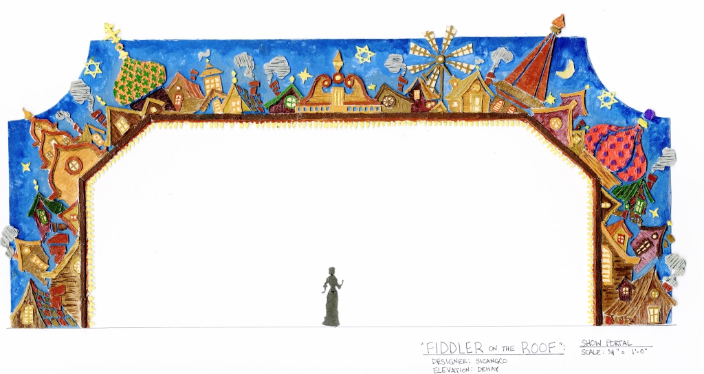 """FIDDLER ON THE ROOF  By: Joseph Stein Designed by: Eduardo Sicangco Paint Elevation: Jamie DeHay Scale: 1/4"""" = 1'0"""""""