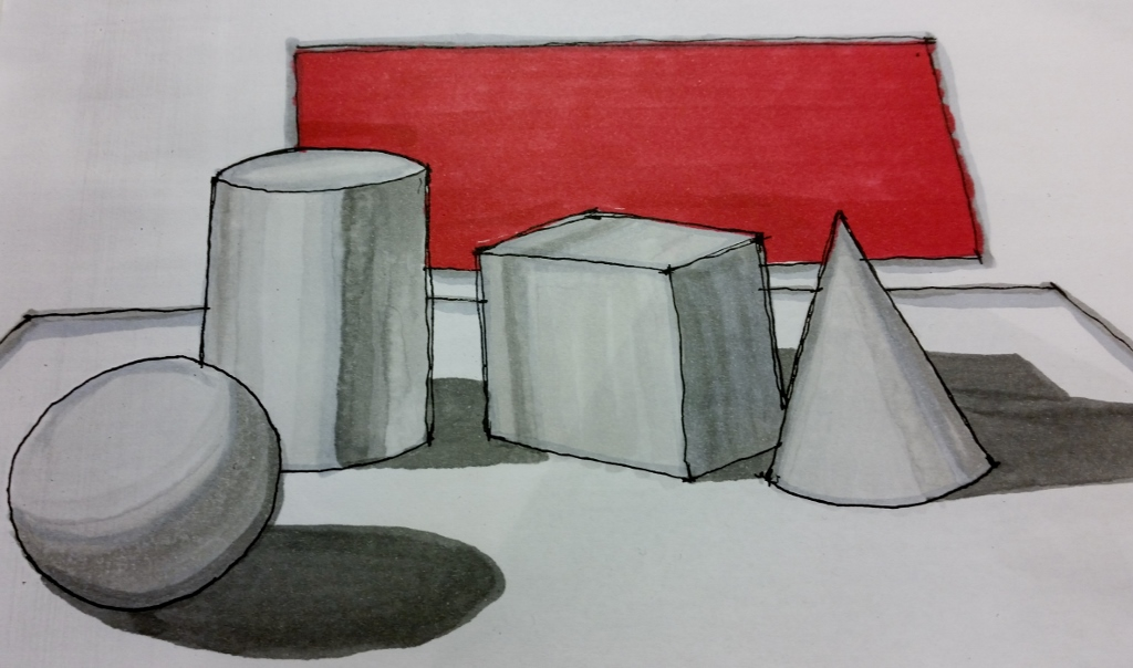 3-Dimensional Shapes rendered with markers.