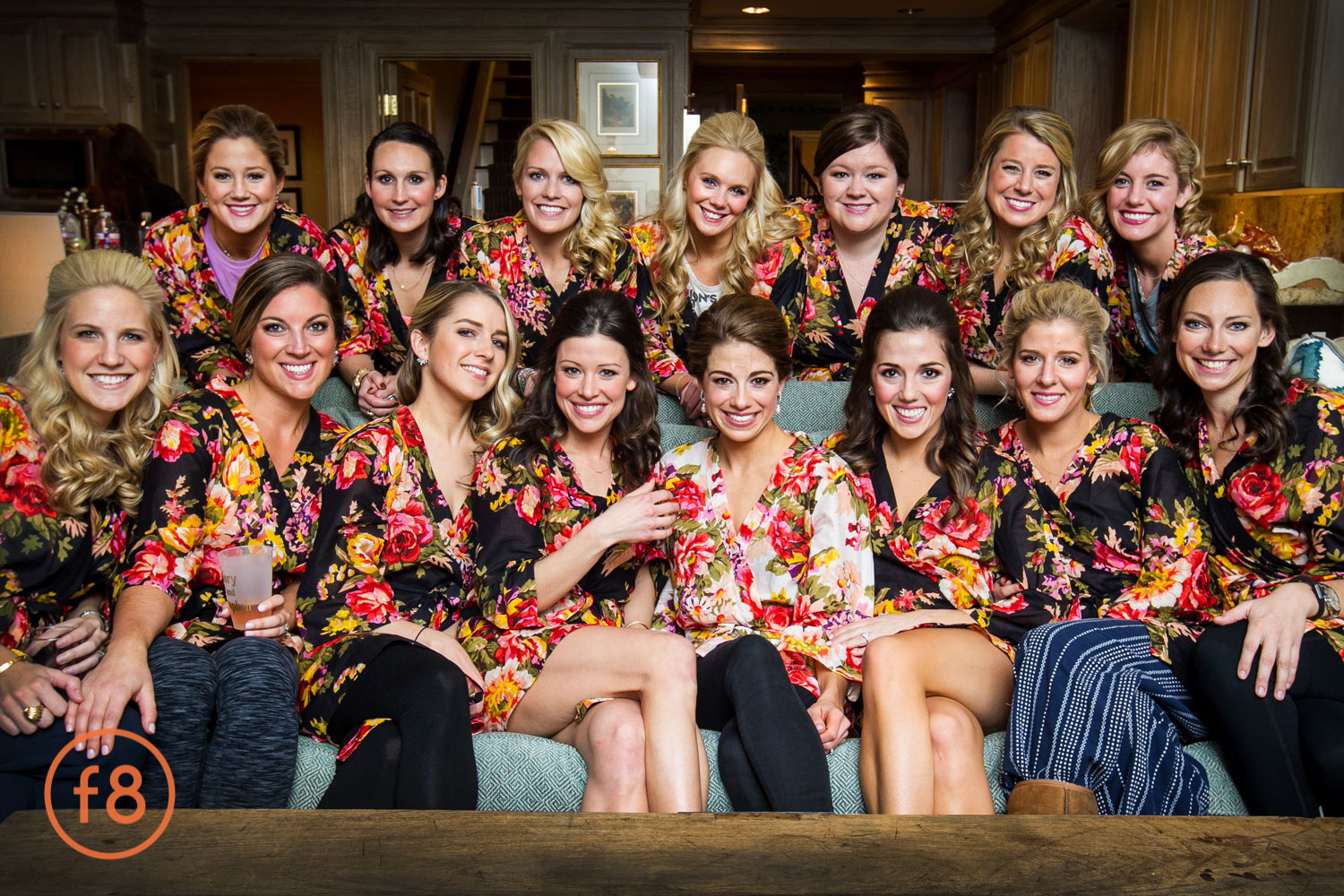 Bridesmaids with the bride at her home in Dallas.