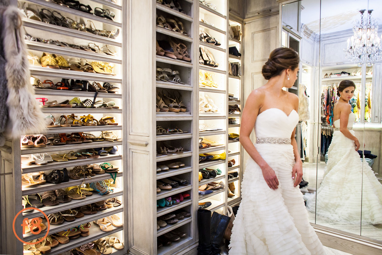 Bride in the shoe closet.