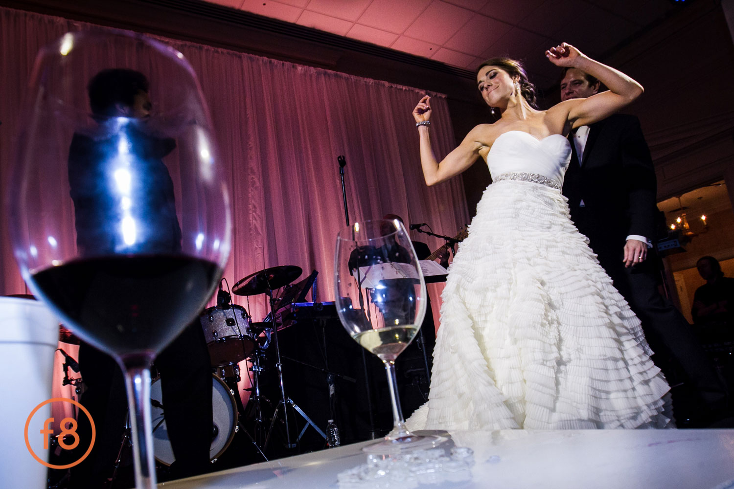 Bride Dancing on stage with Cuvee Band.