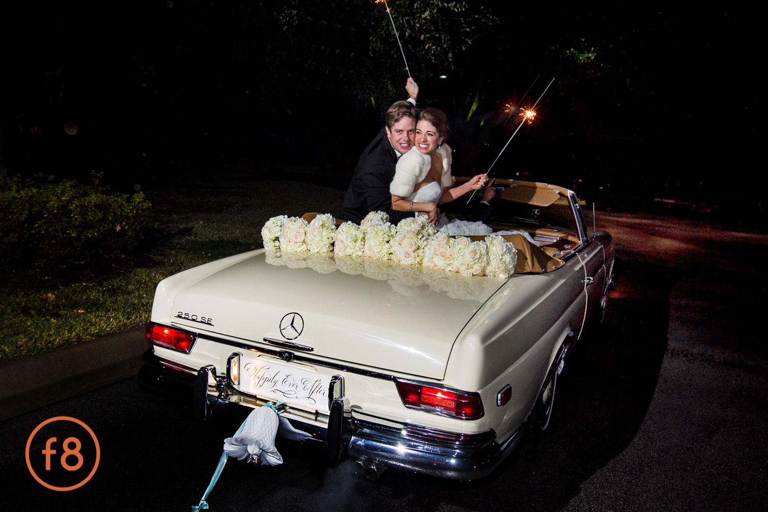 Mercedes Benz is the way to leave a wedding.
