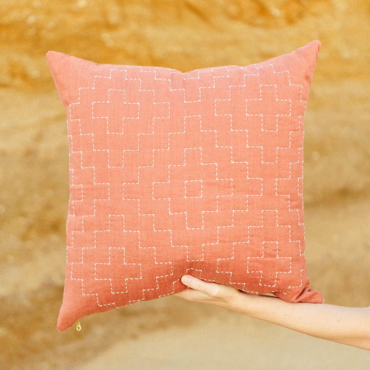Lone Rock Whole Cloth Linen Pillow, 2016