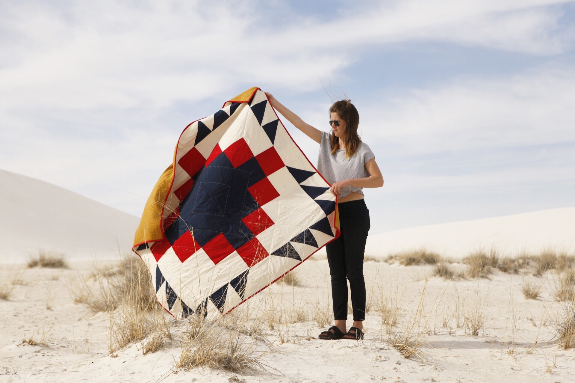 February 2015 at White Sands with the Grandfather Quilt