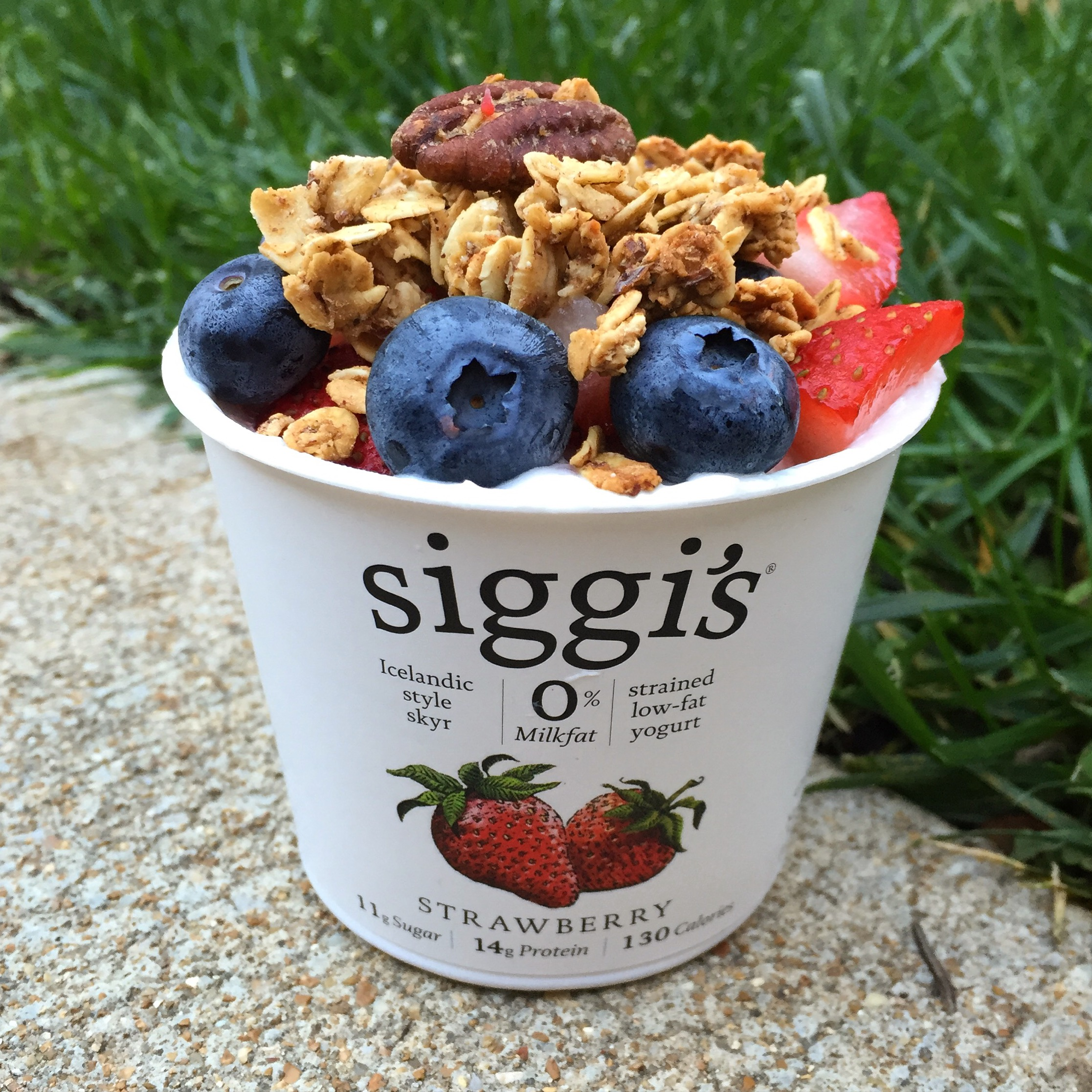 Siggi's is one of my favorite brands. High Protein, High deliciousness, but lower sugar than a lot of flavored yogurts. Along with berries, I topped this with my homemade banana bread granola, which is also one of my regular items I make because my whole family loves it, and it is SO ADDICTING.