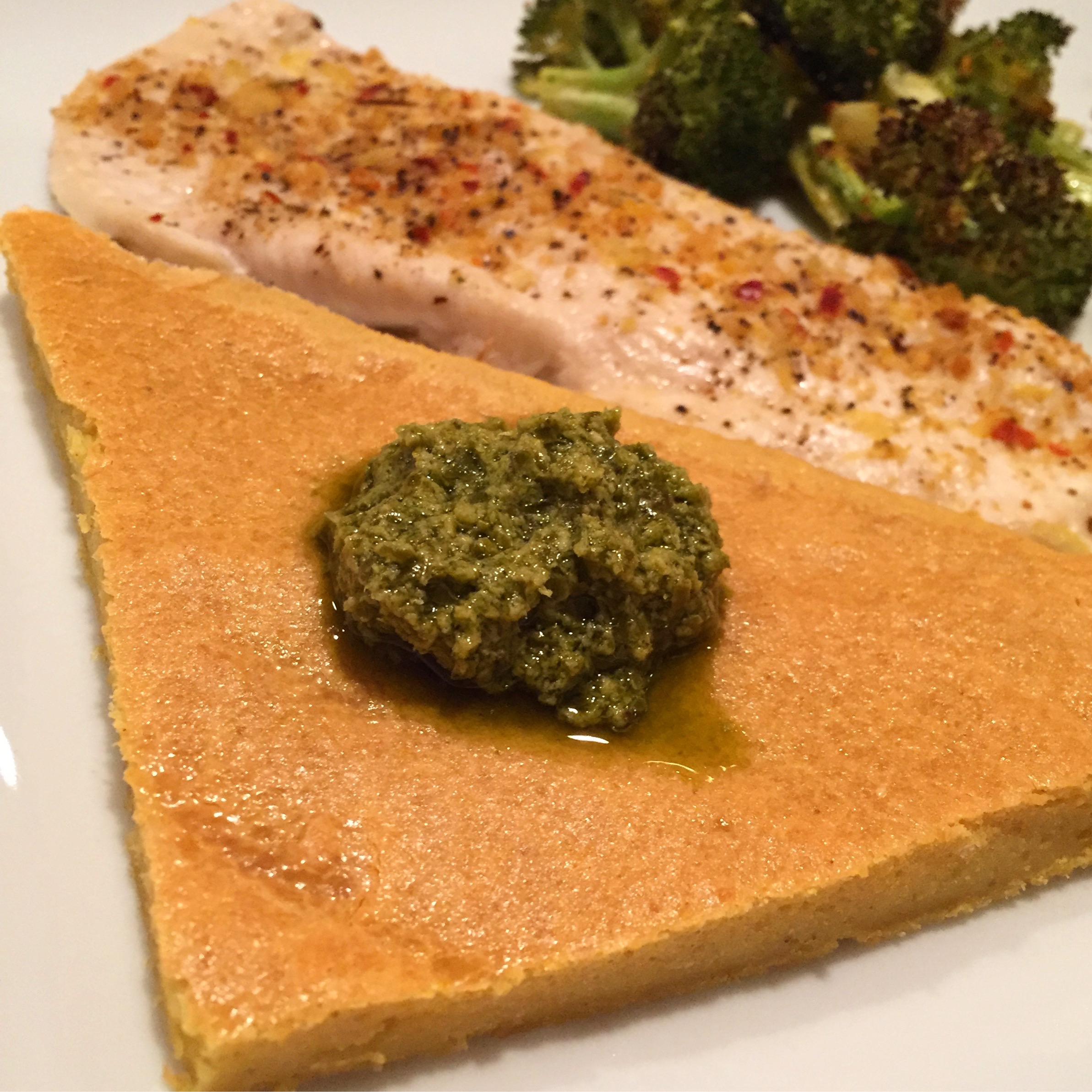 Dinner: Lentil Flatbread + Spiced lemon Chicken + Lemon Roasted Broccoli + hummus (which is hiding) to dip the chicken in.