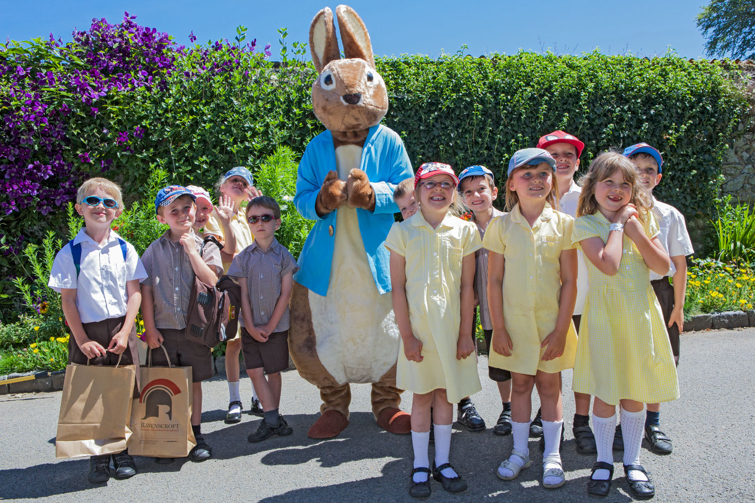 Peter Rabbit with primary school children in Saumarez Park.  Photo copyrighted and provided with permission of Sealord Photography, Guernsey.