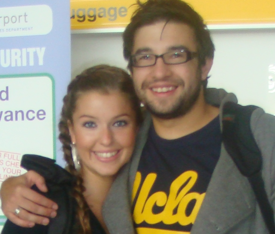 Sarah with her close friend, Sean Collymore at Guernsey Airport