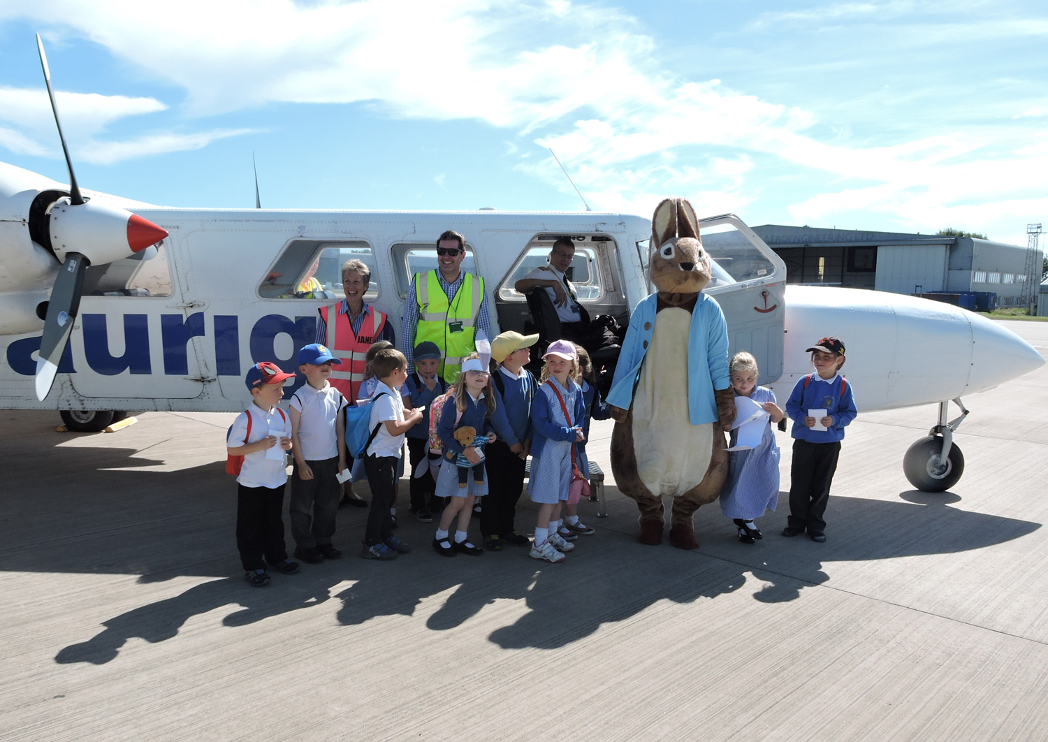 Peter Rabbit saying farewell to his new friends from Alderney