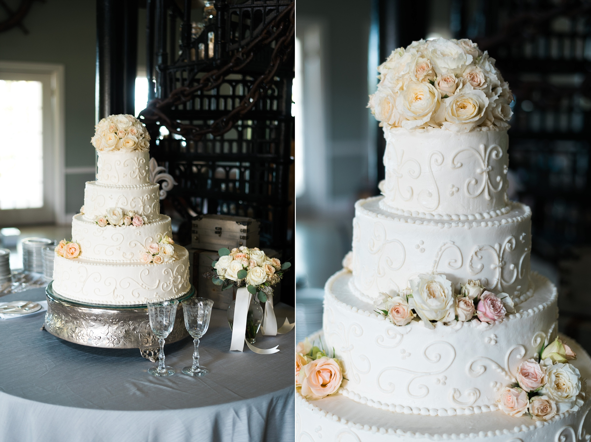 Traditional Wedding Cake with Flowers | Kyle & Erin | Scarbrough Wedding | Children's Harbor | Laura Wilkerson Photography