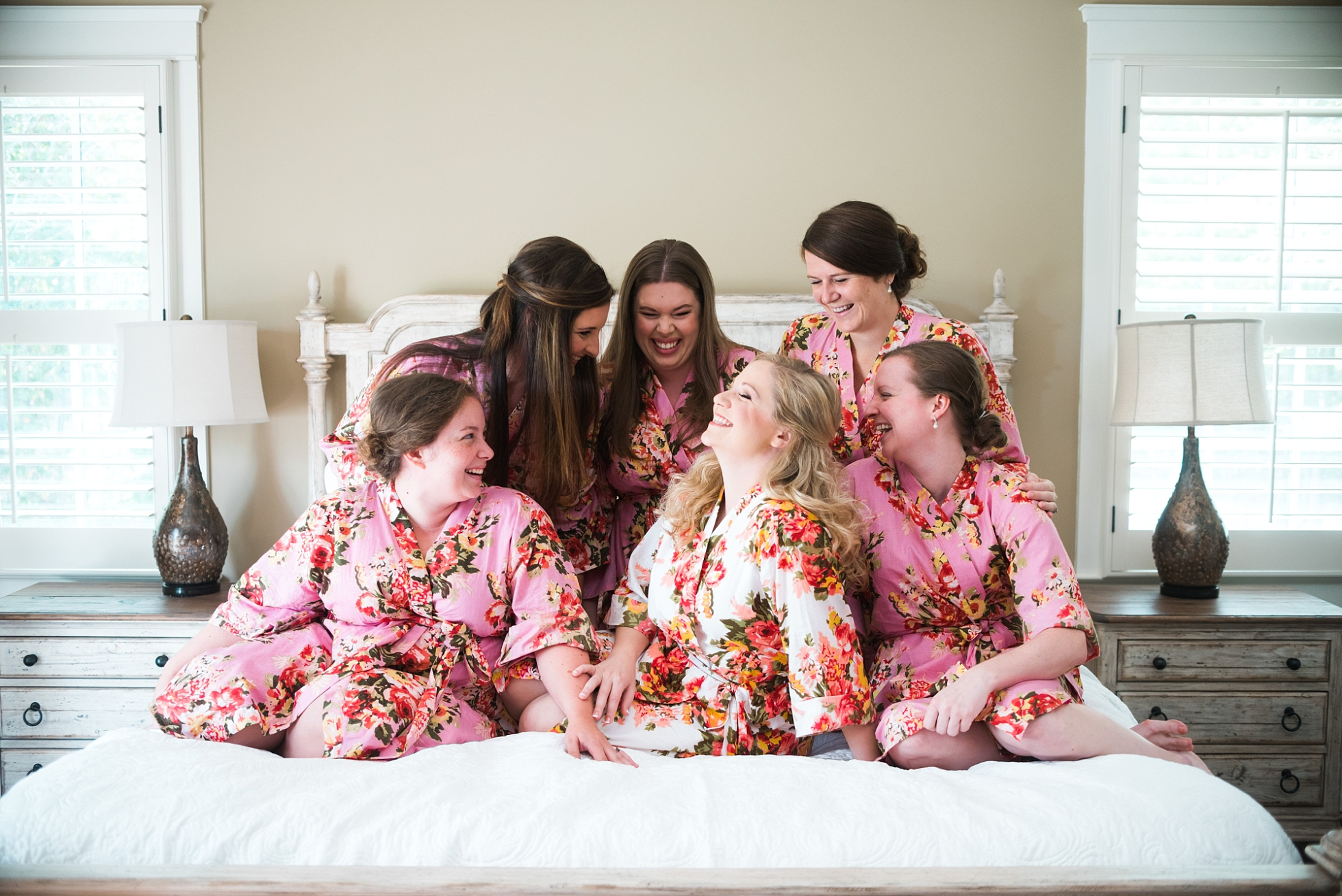 Bride with Bridesmaids in Robes| Kyle & Erin | Scarbrough Wedding | Children's Harbor | Laura Wilkerson Photography