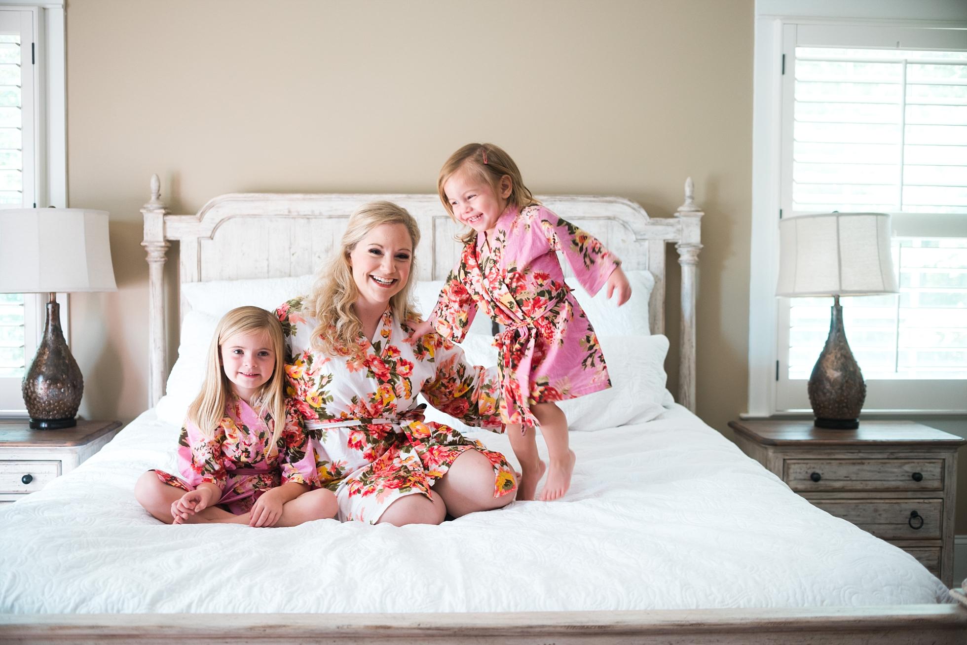 Bride with flower girls in Robes| Kyle & Erin | Scarbrough Wedding | Children's Harbor | Laura Wilkerson Photography