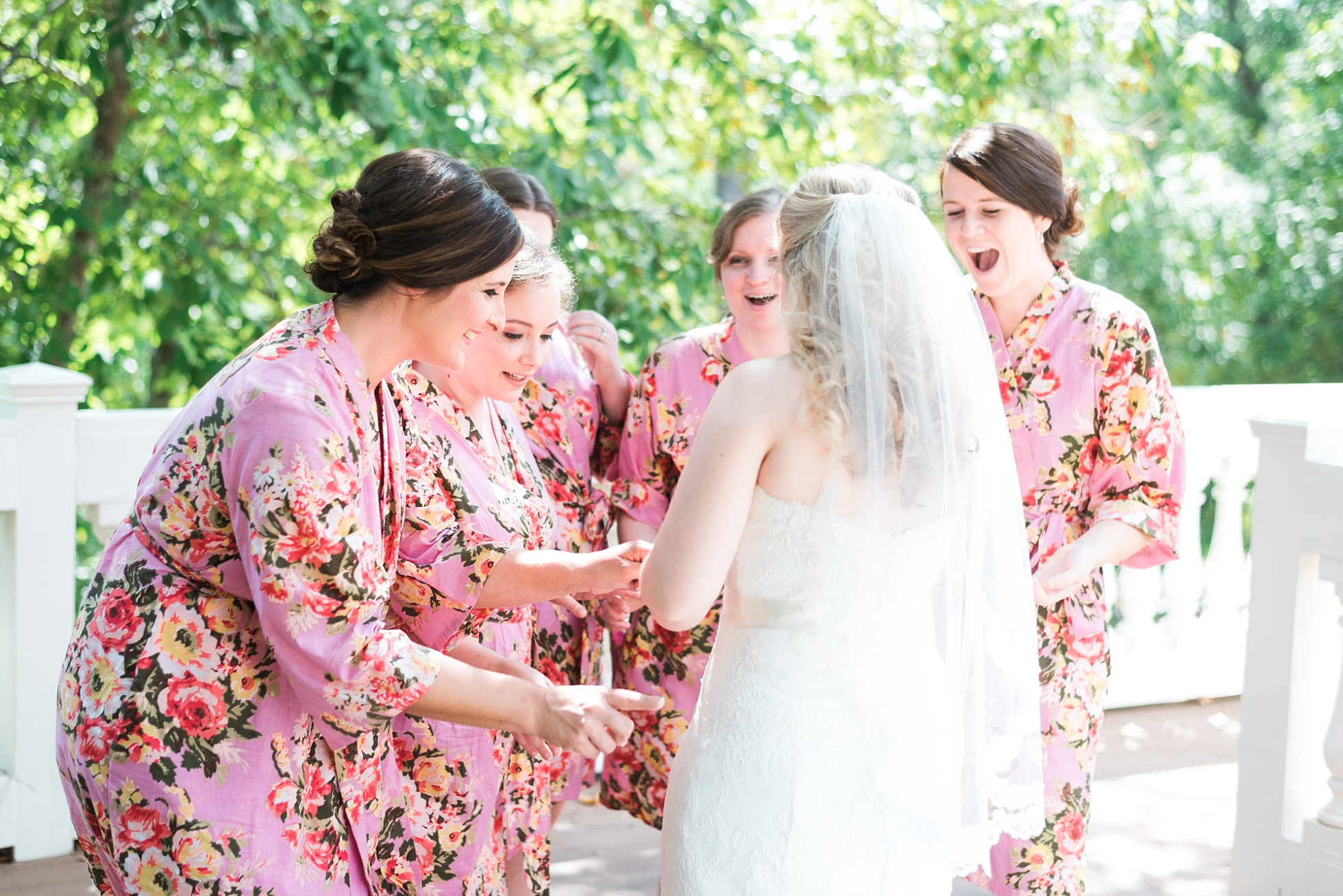 First look with Bridemaids | Kyle & Erin | Scarbrough Wedding | Children's Harbor | Laura Wilkerson Photography