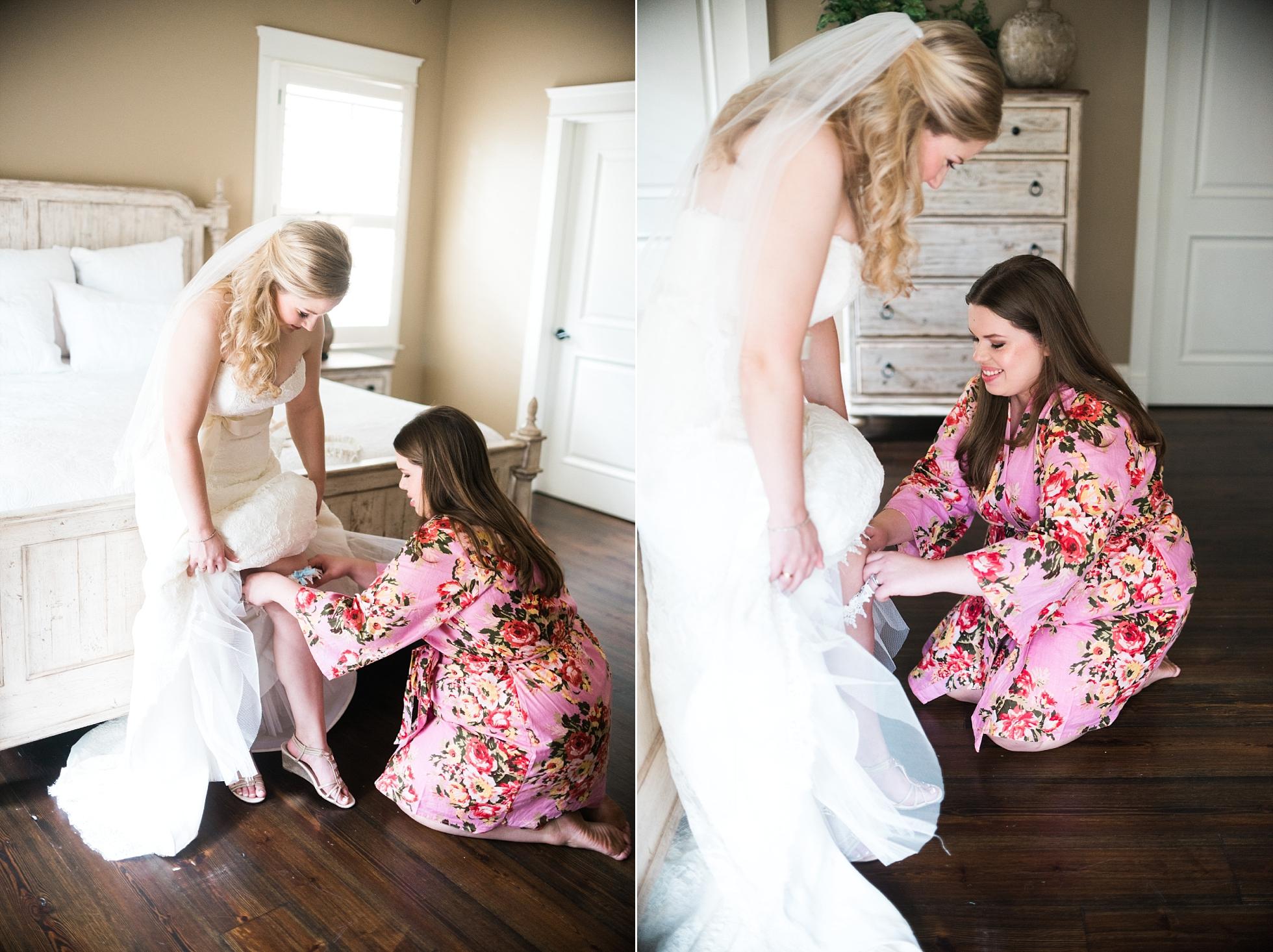 Bride getting in dress | Kyle & Erin | Scarbrough Wedding | Children's Harbor | Laura Wilkerson Photography