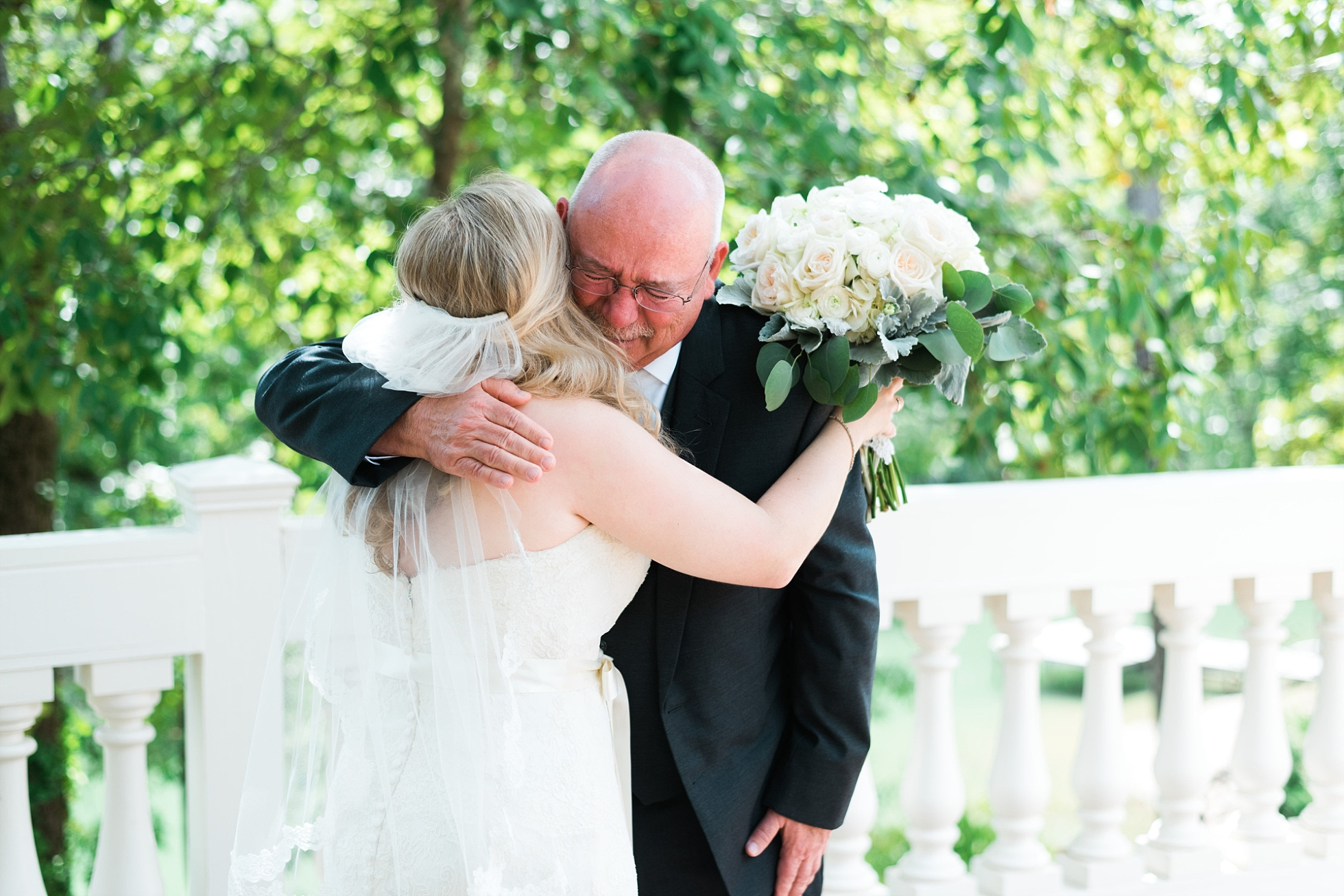 FIrst look with Father | Kyle & Erin | Scarbrough Wedding | Children's Harbor | Laura Wilkerson Photography