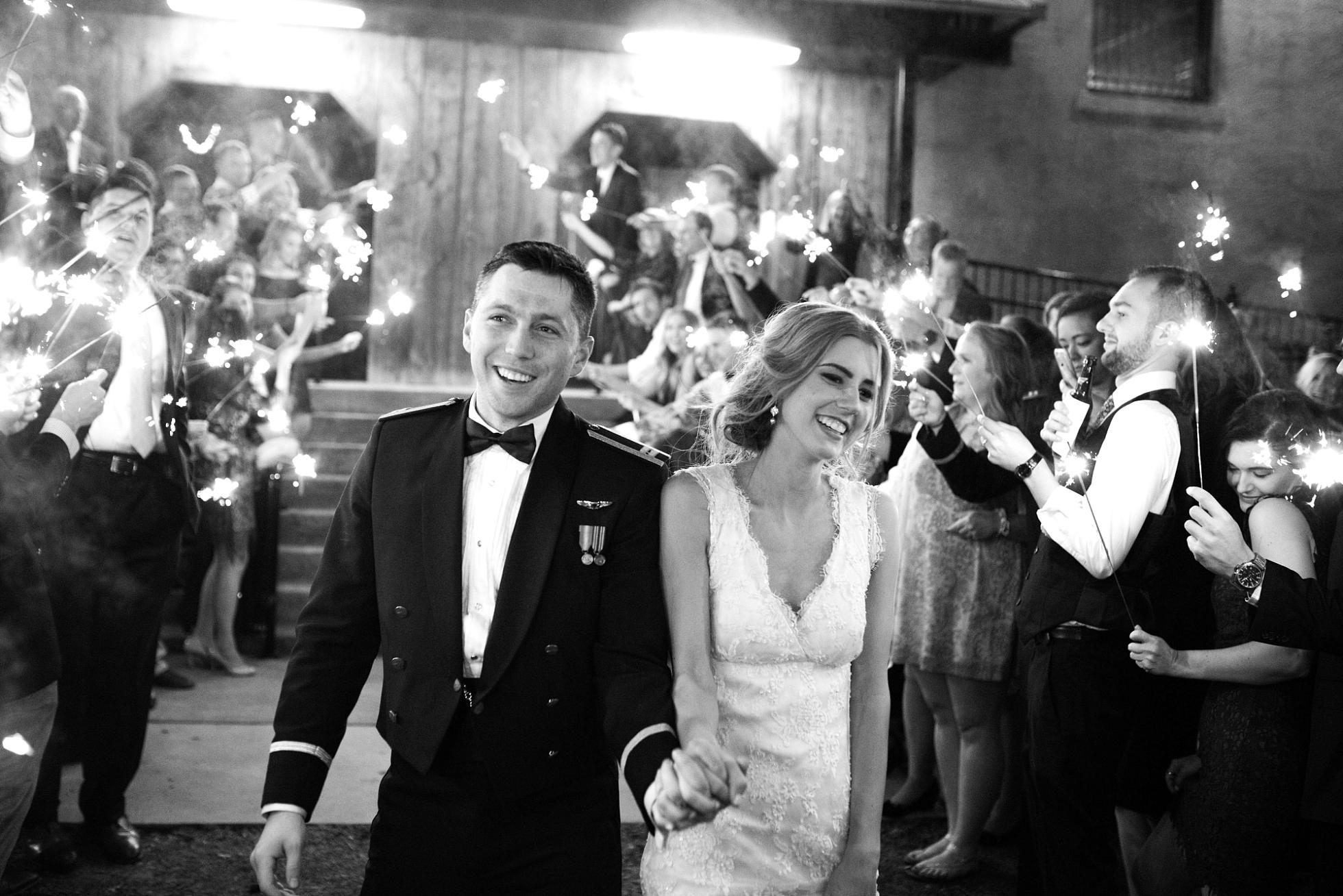 SPARKLER LEAVE | MATT & MEGAN | CAREY WEDDING | B&A WAREHOUSE | ST. FRANCIS XAVIER