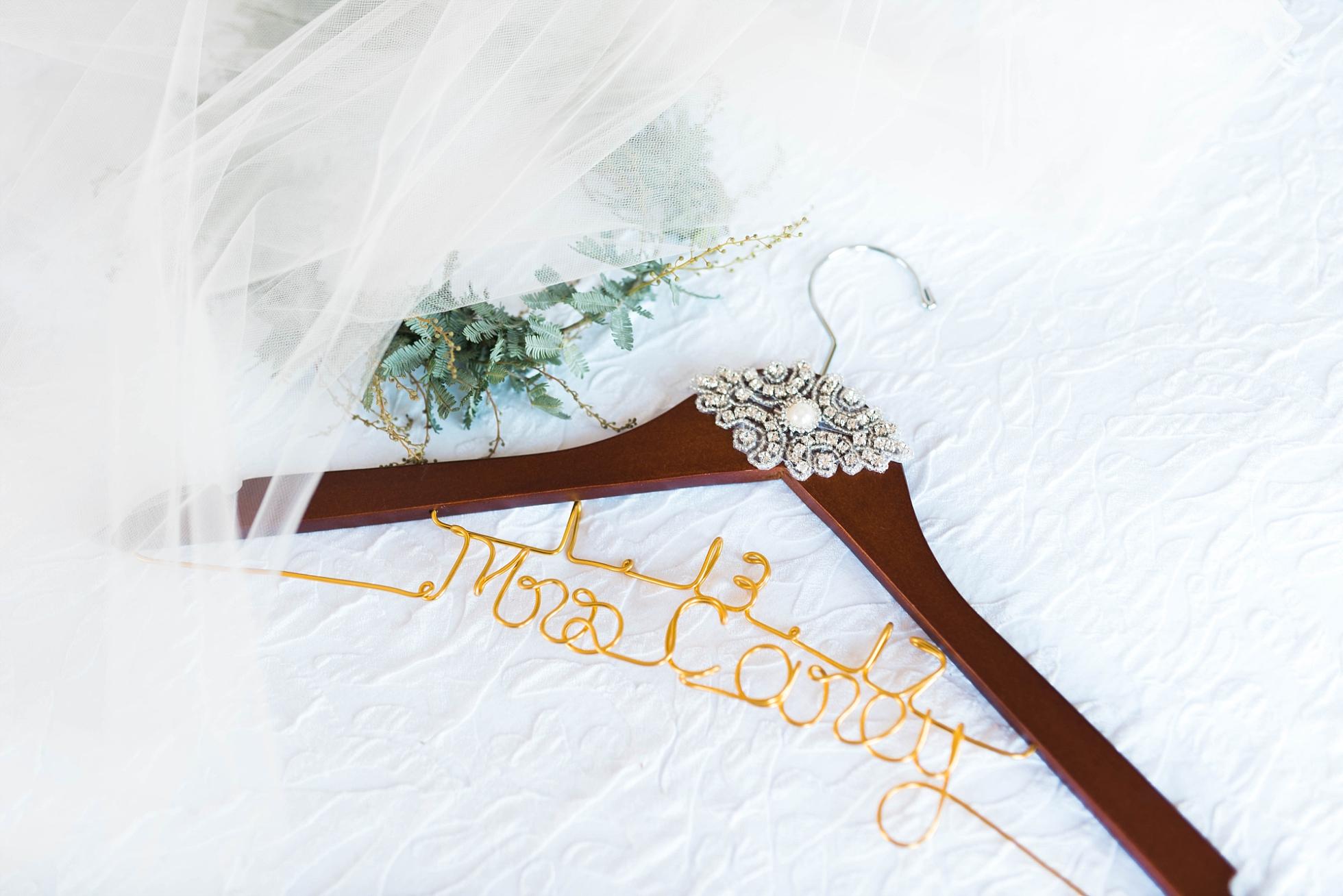WEDDING DRESS HANGER| MATT & MEGAN | CAREY WEDDING | B&A WAREHOUSE | ST. FRANCIS XAVIER