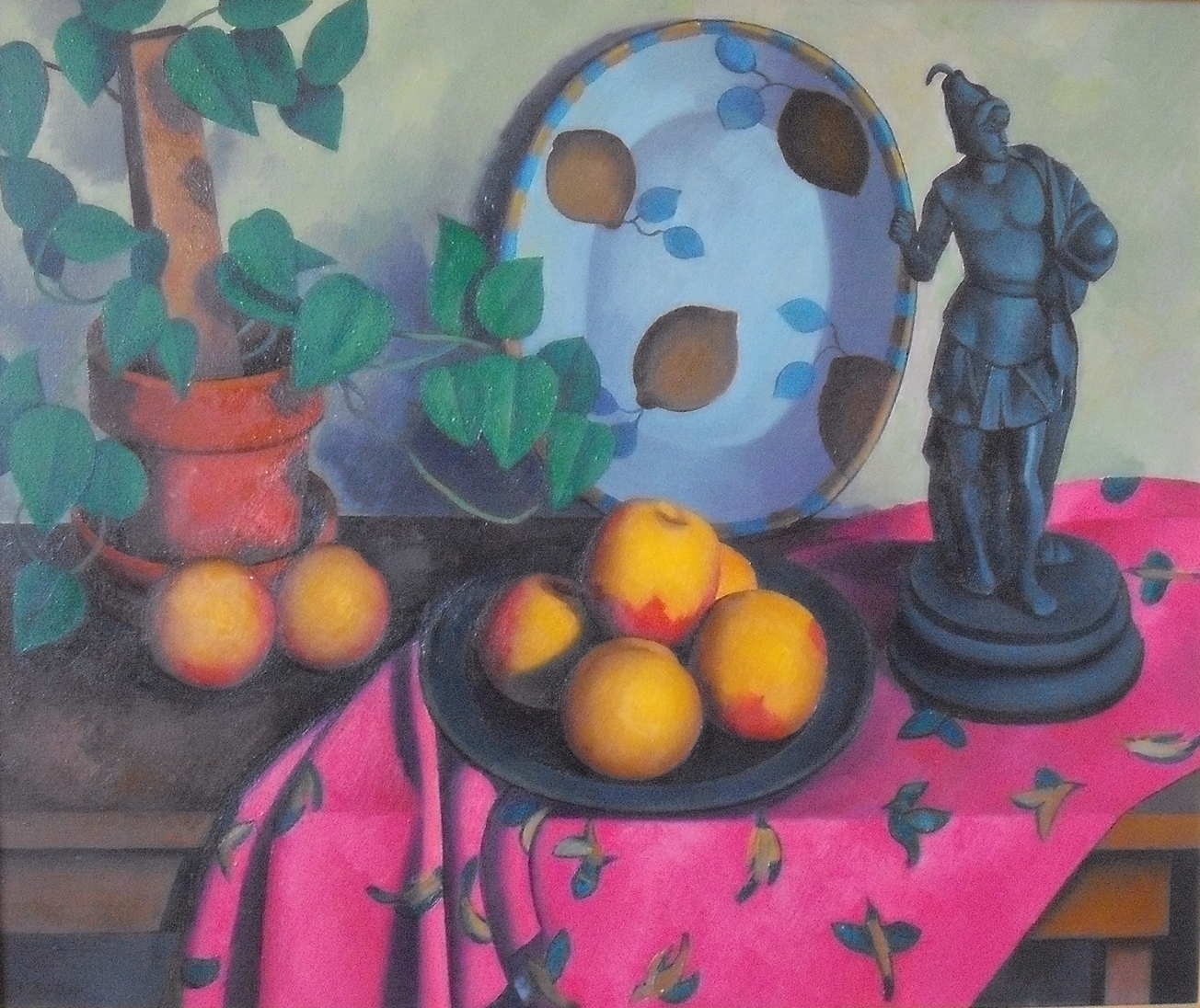 Still Life with Peaches and Figurine