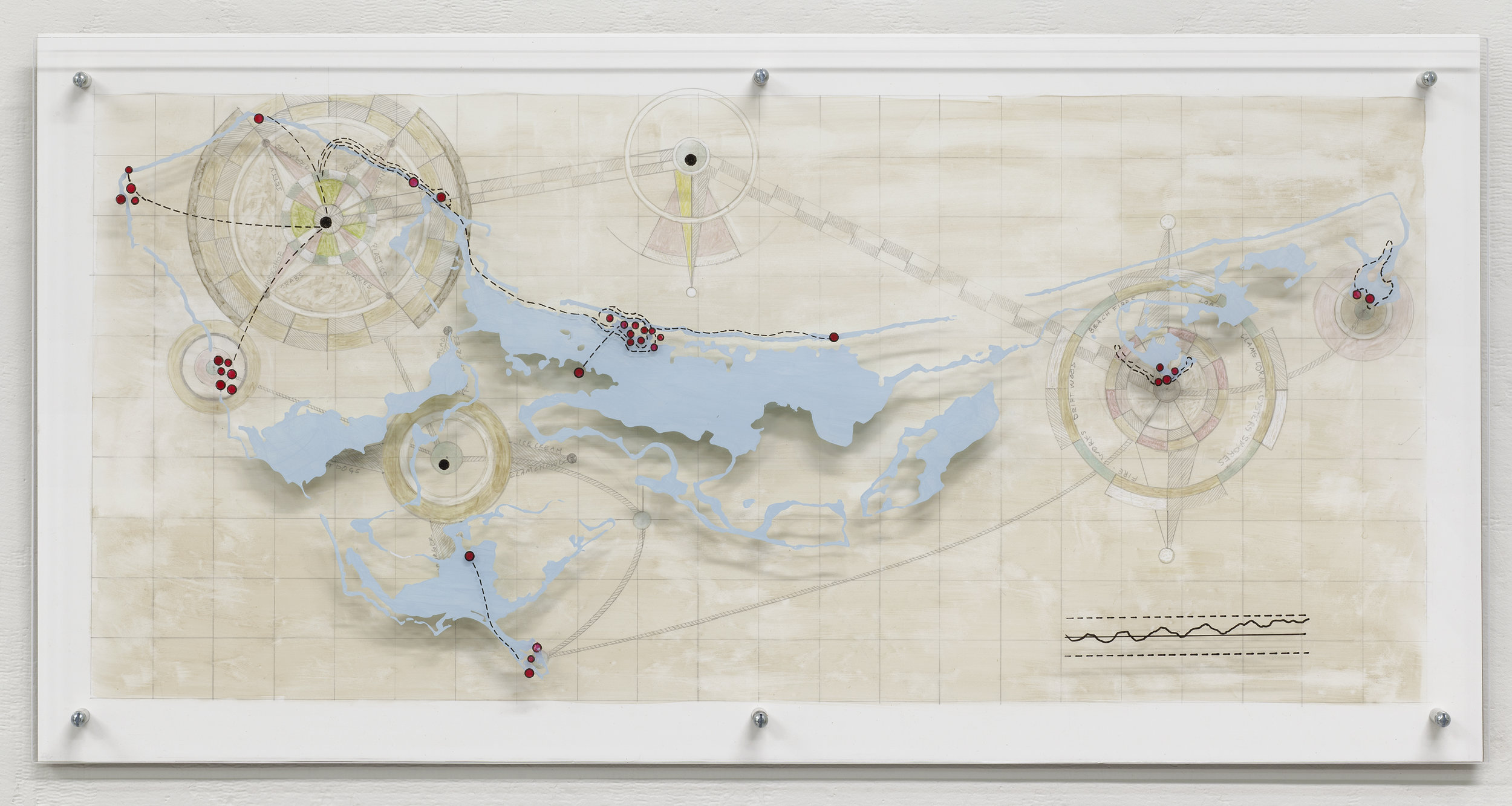 "Great Island Submerged Memories  from Georecorder data. Acrylic and graphite on Yupo, acrylic on Plexiglas 12""x 24""x 1.25"""