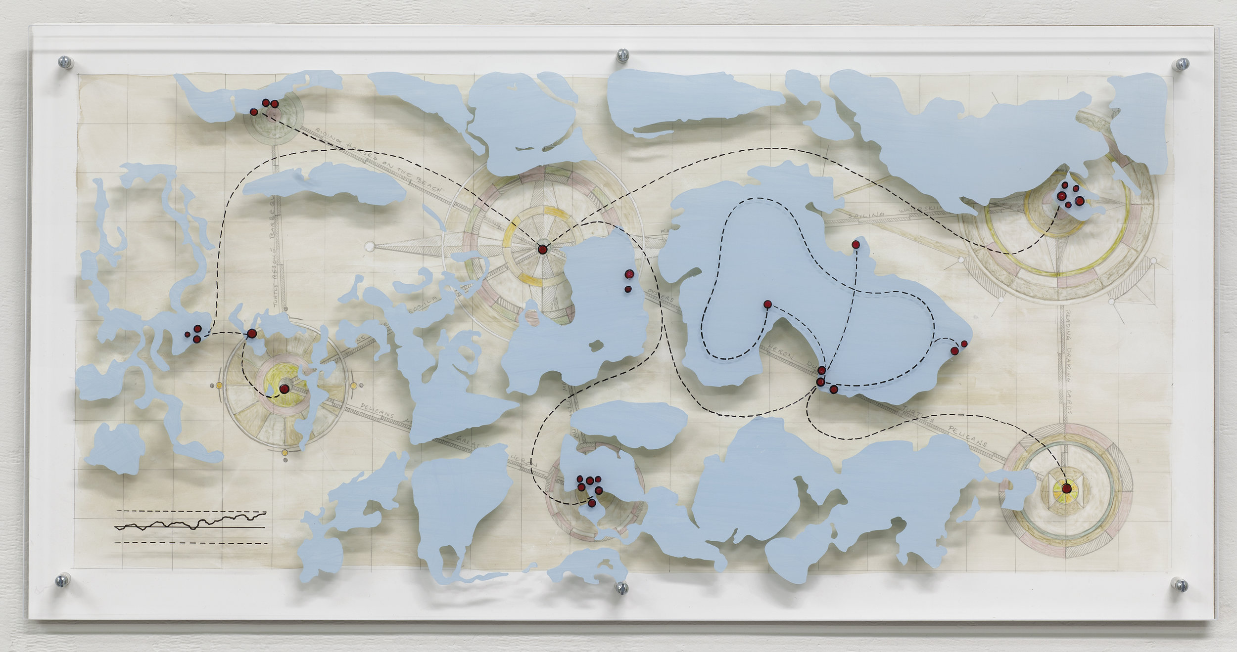 "Gannet Point Submerged Memories  From Georecorder data. Acrylic and graphite on Yupo, acrylic on Plexiglas 12""x 24""x 1.25"""