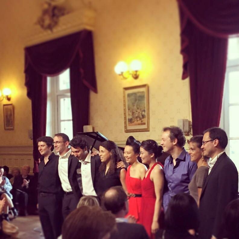 June and Christine Wu after the opening concert of Les Amateurs Virtuoses Festival in Paris at the Théâtre du Châtelet on May 31, 2015.