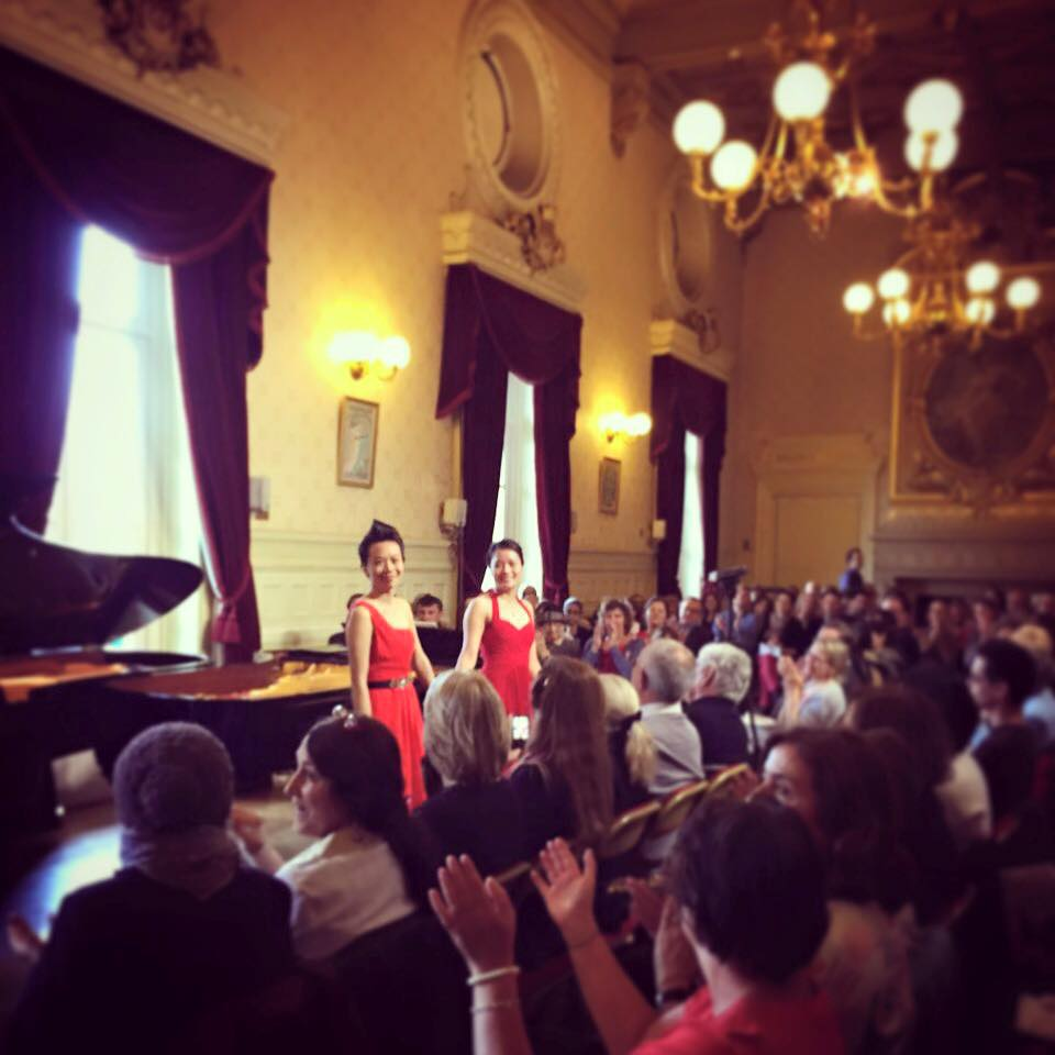 June and Christine Wu after a performance of Milhaud's Scaramouche at the opening concert of the 2015 Les Amateurs Virtuoses Festival in Paris at the Théâtre du Châtelet.