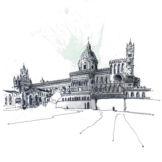 Palermo Duomo, a 12th century beauty with many styles, was designed by Neapolitan architect Ferdinando Fuga, who designed with the mood of his day // Watercolor, pen and ink #arch_grap #arch_more #arch_sketch #sketchbook #watercolor #penandinksketch #arquitectura #newpainting #sketch_book #italianarchitecture #watercolouring #art_ #artoftheday #archisketcher