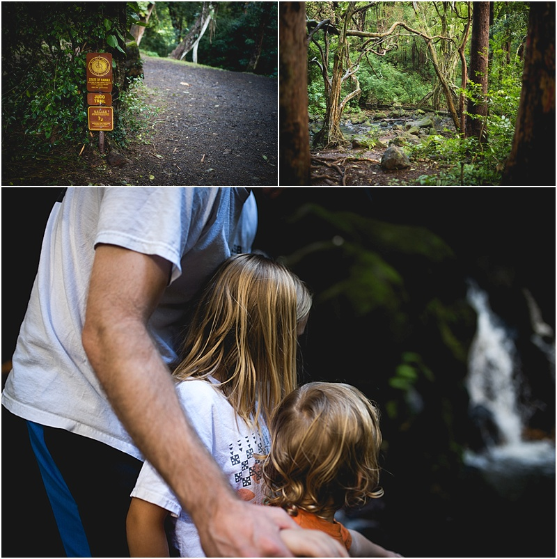 father helping children on hike lifestyle photography