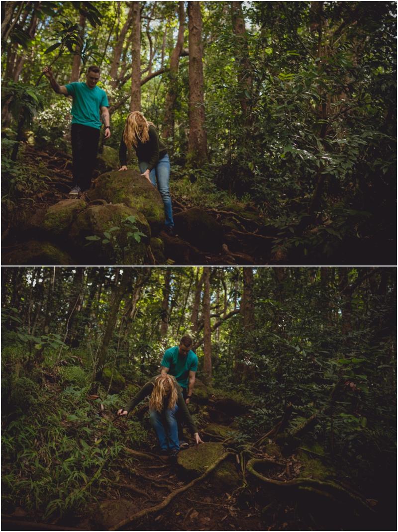 playful couples waterfall documentary hike