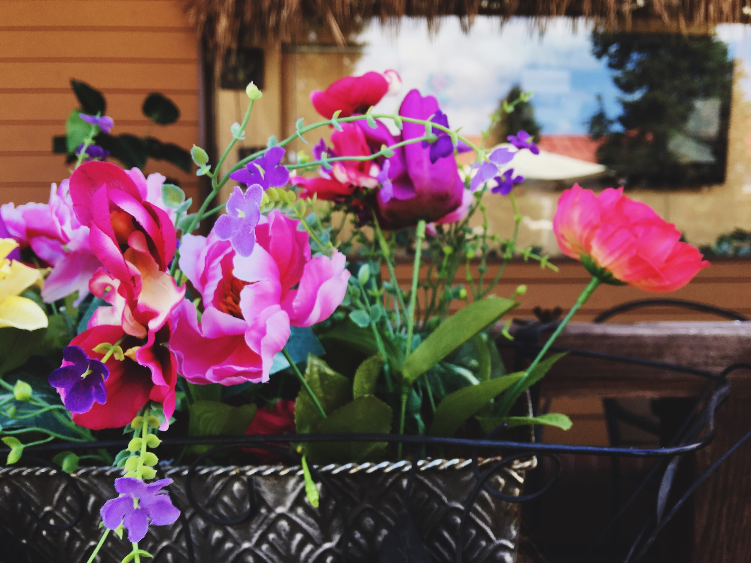 Pretty flowers during lunch with a friend.