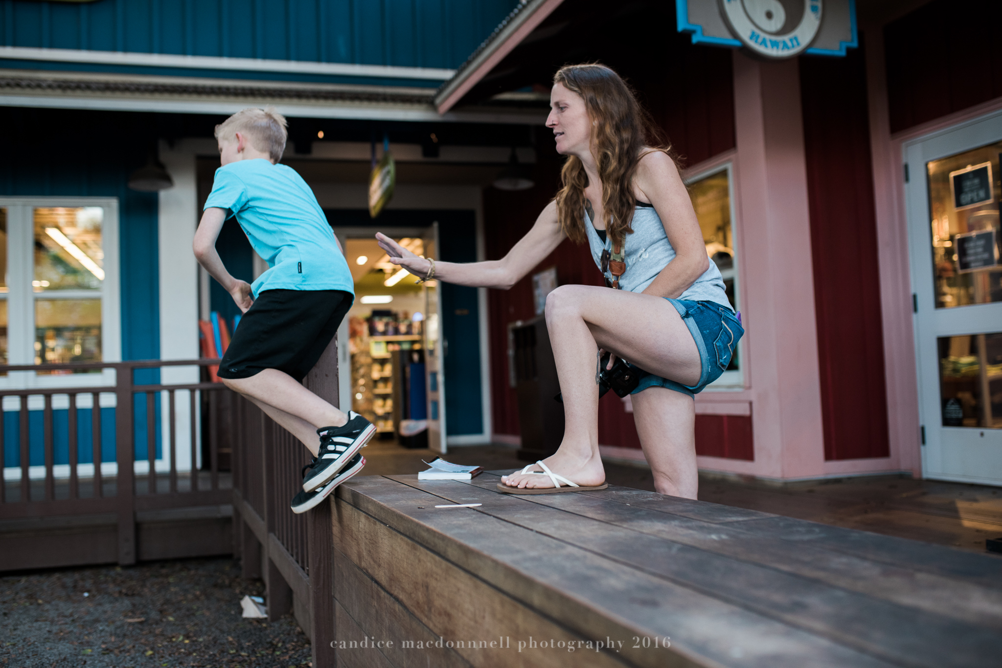 mom and son playing at matsamotos lifestyle photography by candice macdonnell photography, oahu hawaii documentary photographer